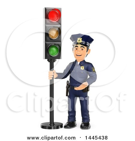 Clipart of a 3d Male Police Officer by a Red Traffic Light, on a White Background - Royalty Free Illustration by Texelart