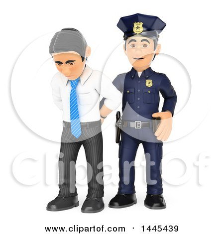 Clipart of a 3d White Collar Criminal Business Man Being Arrested, on a White Background - Royalty Free Illustration by Texelart