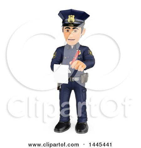 Clipart of a 3d Male Police Officer Issuing a Ticket, on a White Background - Royalty Free Illustration by Texelart