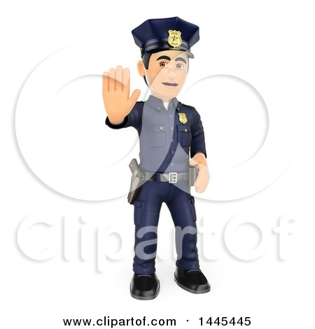Clipart of a 3d Full Length Male Police Officer Holding out a Hand to Stop, on a White Background - Royalty Free Illustration by Texelart