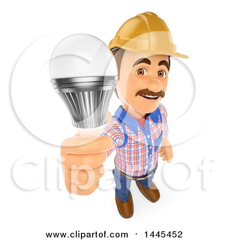 Clipart of a 3d Male Electrician Holding up a LED Light Bulb, on a White Background - Royalty Free Illustration by Texelart