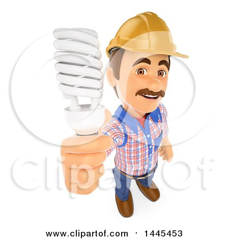 Clipart of a 3d Male Electrician Holding up a Flourescent Light Bulb, on a White Background - Royalty Free Illustration by Texelart