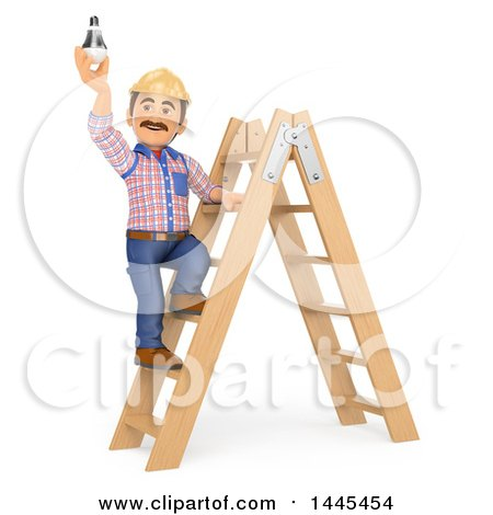 Clipart of a 3d Male Electrician Changing a Light Bulb, on a White Background - Royalty Free Illustration by Texelart