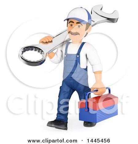 Clipart of a 3d Male Mechanic Carrying a Spanner Wrench and Tool Box, on a White Background - Royalty Free Illustration by Texelart