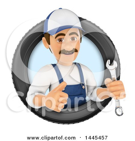 Clipart of a 3d Male Mechanic Holding a Spanner Wrench and Giving a Thumb up in a Tire, on a White Background - Royalty Free Illustration by Texelart