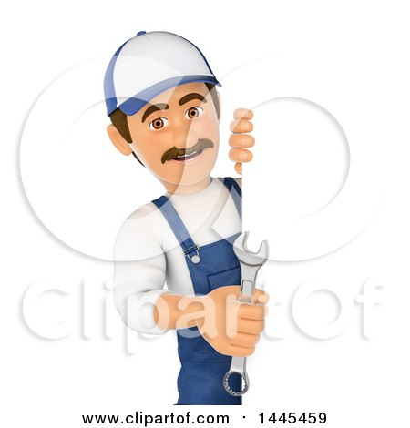 Clipart of a 3d Male Mechanic Holding a Spanner Wrench Around a Sign, on a White Background - Royalty Free Illustration by Texelart