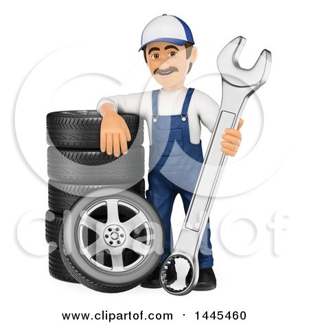 Clipart of a 3d Male Mechanic Holding a Spanner Wrench and Leaning on a Stack of Tires, on a White Background - Royalty Free Illustration by Texelart
