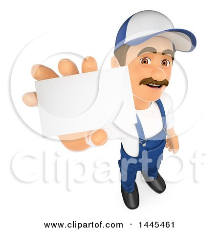 Clipart of a 3d Male Mechanic Holding out a Business Card, on a White Background - Royalty Free Illustration by Texelart
