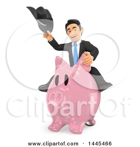 Clipart of a 3d Business Man Holding a Cowboy Hat and Riding a Piggy Bank, on a White Background - Royalty Free Illustration by Texelart