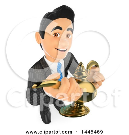 Clipart of a 3d Business Man Holding a Genie Lamp, on a White Background - Royalty Free Illustration by Texelart