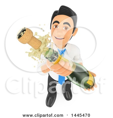 Clipart of a 3d Business Man Shaking up an Uncorked Bottle of Champagne, on a White Background - Royalty Free Illustration by Texelart