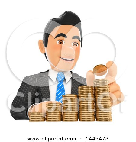 Clipart of a 3d Business Man Stacking Coins like a Bar Graph, on a White Background - Royalty Free Illustration by Texelart