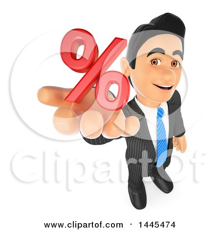 Clipart of a 3d Business Man Holding up a Percent Symbol, on a White Background - Royalty Free Illustration by Texelart