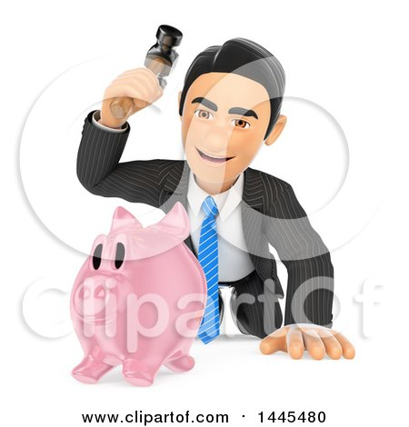 Clipart of a 3d Business Man About to Break a Piggy Bank with a Hammer, on a White Background - Royalty Free Illustration by Texelart