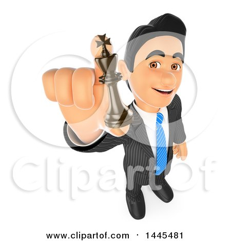 Clipart of a 3d Business Man Holding up a Chess King Piece, on a White Background - Royalty Free Illustration by Texelart