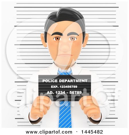 Clipart of a 3d White Collar Criminal Business Man Getting His Mugshot Taken, on a White Background - Royalty Free Illustration by Texelart
