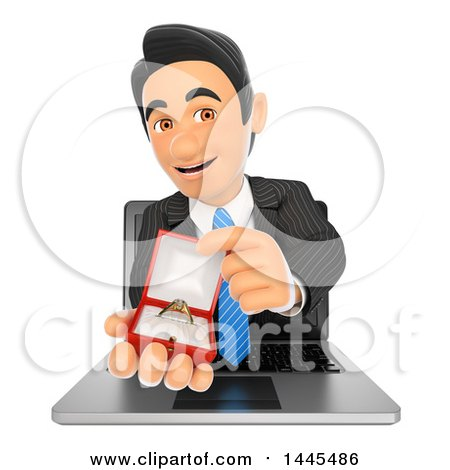 Clipart of a 3d Business Man Emerging from a Laptop Screen and Holding an Engagement Ring, on a White Background - Royalty Free Illustration by Texelart