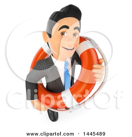 Clipart of a 3d Business Man with a Bailout Life Buoy, on a White Background - Royalty Free Illustration by Texelart