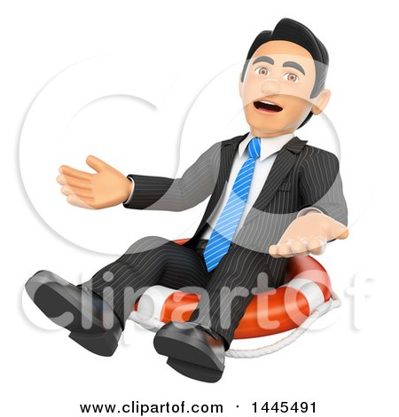 Clipart of a 3d Bankrupt Business Man Sitting on a Life Buoy, on a White Background - Royalty Free Illustration by Texelart