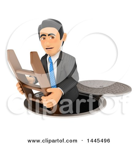 Clipart of a 3d Business Man Going down to the Sewers, on a White Background - Royalty Free Illustration by Texelart