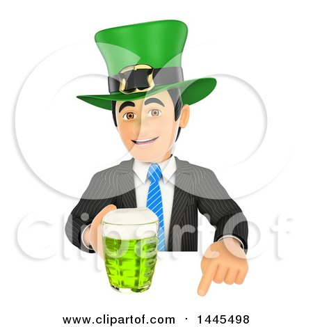 Clipart of a 3d Business Man Wearing a St Patricks Day Hat and Holding a Beer over a Sign, on a White Background - Royalty Free Illustration by Texelart