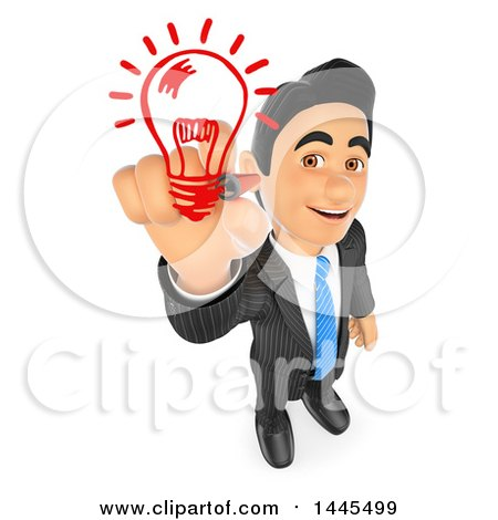 Clipart of a 3d Creative Business Man Drawing a Light Bulb, on a White Background - Royalty Free Illustration by Texelart