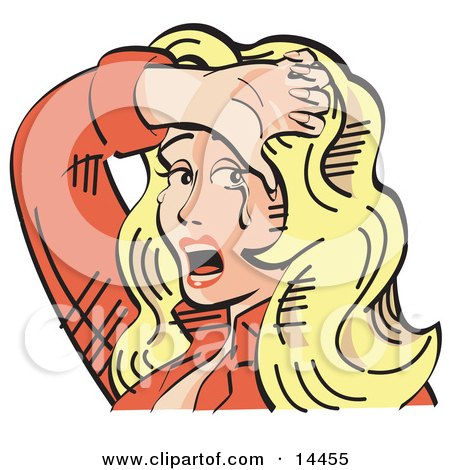 Upset Blond Cowgirl Holding Her Arm Over Her Forehead and Crying Tears of Sadness Clipart Illustration by Andy Nortnik