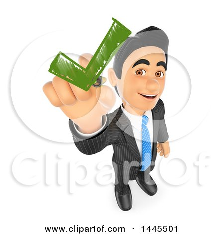 Clipart of a 3d Business Man Drawing a Green Check Mark, on a White Background - Royalty Free Illustration by Texelart