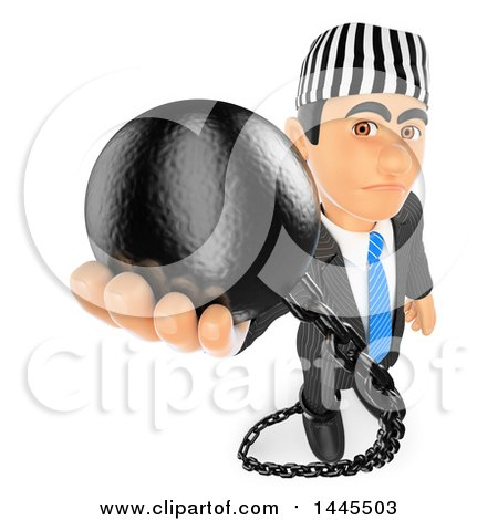 Clipart of a 3d Business Man Prisoner Holding up a Ball, on a White Background - Royalty Free Illustration by Texelart