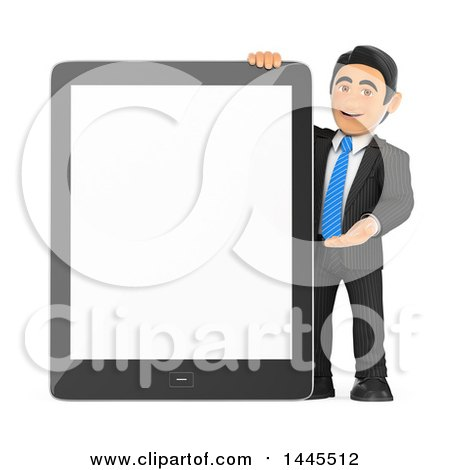Clipart of a 3d Business Man Presenting a Giant Tablet Computer with a Blank Screen, on a White Background - Royalty Free Illustration by Texelart
