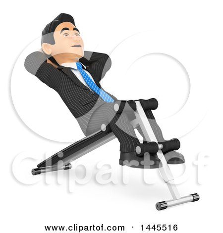 Clipart of a 3d Business Man Doing Sit Ups on a Bench, on a White Background - Royalty Free Illustration by Texelart