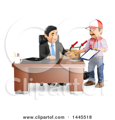 Clipart of a 3d Business Man Receiving a Delivery, on a White Background - Royalty Free Illustration by Texelart