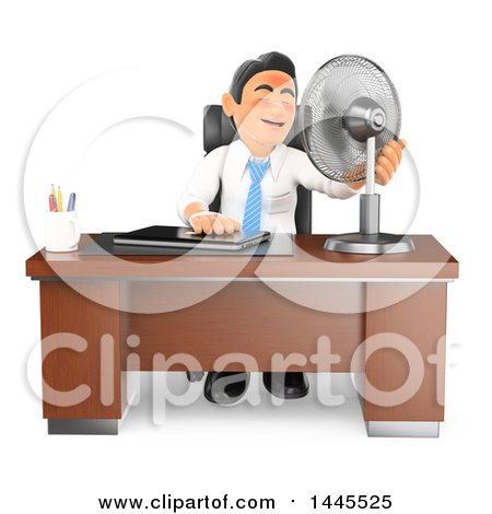 Clipart of a 3d Flushed and Hot Business Man Sitting with a Fan at His Desk, on a White Background - Royalty Free Illustration by Texelart