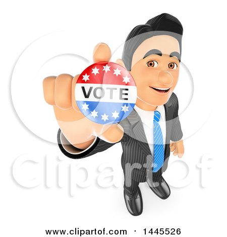 Clipart of a 3d Business Man or Politician Holding up a Vote Badge, on a White Background - Royalty Free Illustration by Texelart