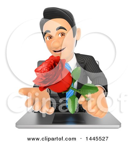 Clipart of a 3d Business Man Emerging from a Laptop Screen and Holding a Valentine Rose, on a White Background - Royalty Free Illustration by Texelart