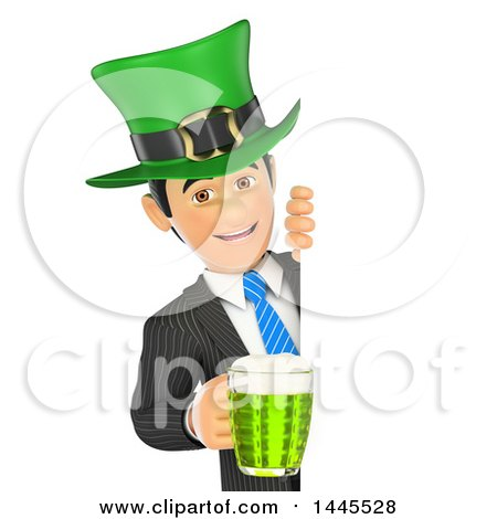 Clipart of a 3d Business Man Wearing a St Patricks Day Hat and Holding a Beer Around a Sign, on a White Background - Royalty Free Illustration by Texelart