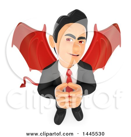 Clipart of a 3d Devil Business Man Thinking, on a White Background - Royalty Free Illustration by Texelart