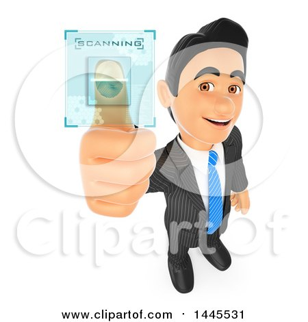 Clipart of a 3d Business Man Scanning His Fingerprint, on a White Background - Royalty Free Illustration by Texelart