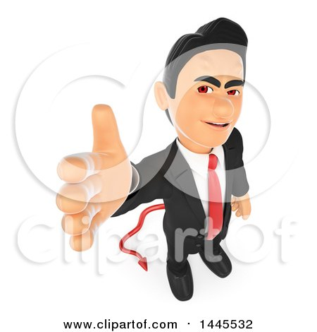 Clipart of a 3d Devil Business Man Reaching out to Shake Hands, on a White Background - Royalty Free Illustration by Texelart