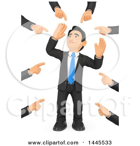 Clipart of a 3d Business Man Being Pointed at by Many Hands, on a White Background - Royalty Free Illustration by Texelart