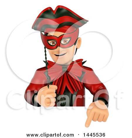 Clipart of a 3d Masked Carnival Man Pointing down over a Sign, on a White Background - Royalty Free Illustration by Texelart