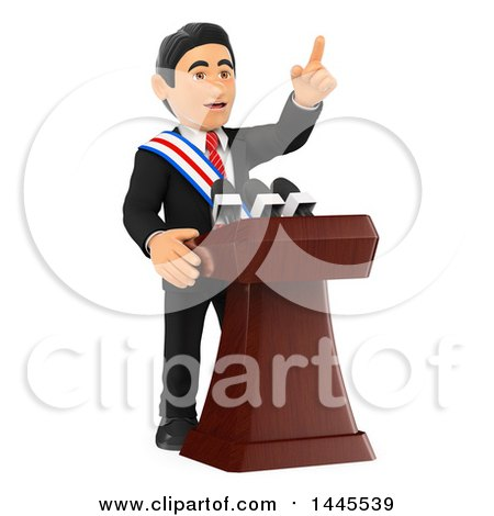 Clipart of a 3d Male Politician Wearing a Sash and Giving a Speech, on a White Background - Royalty Free Illustration by Texelart