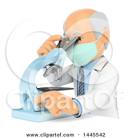 Clipart of a 3d Senior Caucasian Male Doctor or Veterinarian Looking Through a Microscope, on a White Background - Royalty Free Illustration by Texelart