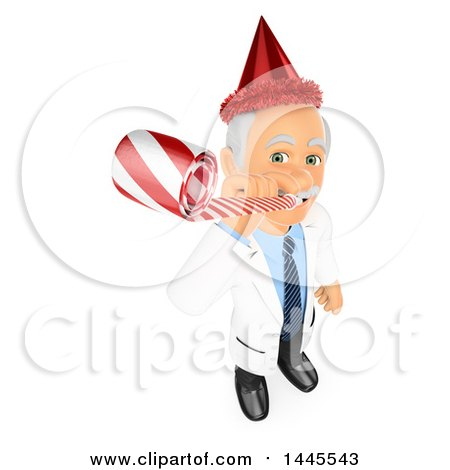 Clipart of a 3d Senior Caucasian Male Doctor or Veterinarian Wearing a Party Hat and Using a Blower, on a White Background - Royalty Free Illustration by Texelart