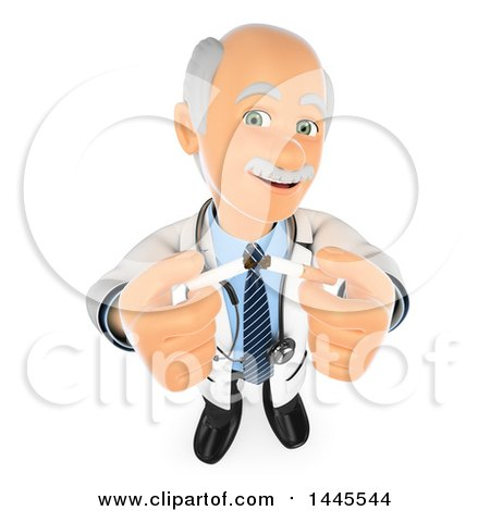 Clipart of a 3d Senior Caucasian Male Doctor Holding up Cigarettes, on a White Background - Royalty Free Illustration by Texelart