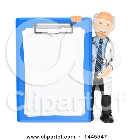 Clipart of a 3d Senior Caucasian Male Doctor or Veterinarian Presenting a Giant Clipboard, on a White Background - Royalty Free Illustration by Texelart