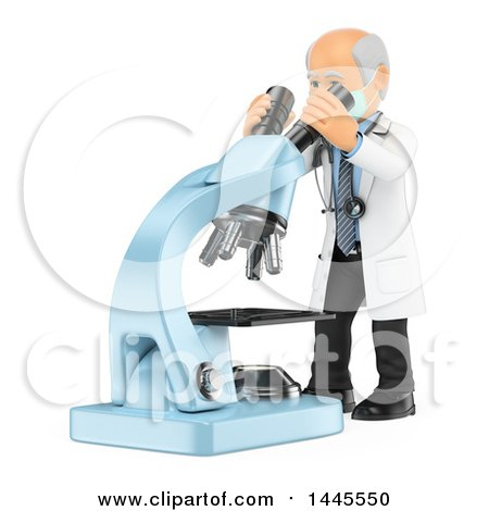 Clipart of a 3d Senior Caucasian Male Doctor or Veterinarian Looking Through a Giant Microscope, on a White Background - Royalty Free Illustration by Texelart