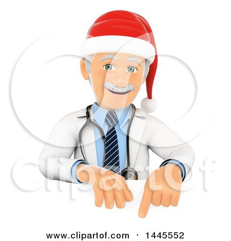 Clipart of a 3d Senior Caucasian Male Doctor or Veterinarian Wearing a Christmas Santa Hat over a Sign, on a White Background - Royalty Free Illustration by Texelart