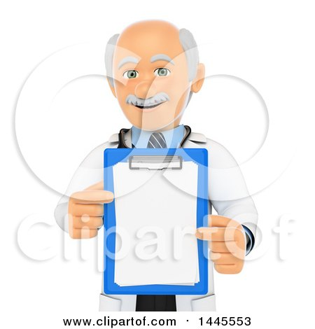 Clipart of a 3d Senior Caucasian Male Doctor or Veterinarian Holding a Clipboard, on a White Background - Royalty Free Illustration by Texelart