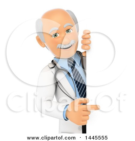 Clipart of a 3d Senior Caucasian Male Doctor Pointing Around a Sign, on a White Background - Royalty Free Illustration by Texelart